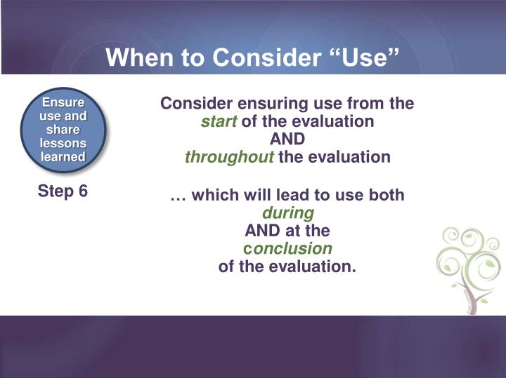 """When to Consider """"Use"""""""