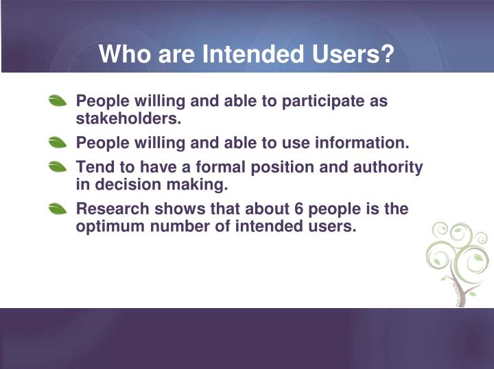 Who are Intended Users?