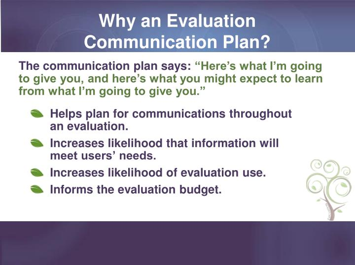 Why an Evaluation Communication Plan?