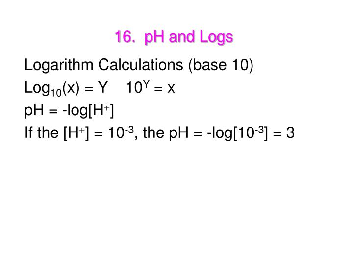 16.  pH and Logs