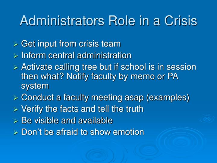 Administrators Role in a Crisis