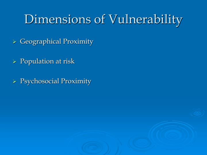 Dimensions of Vulnerability