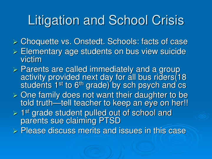 Litigation and School Crisis