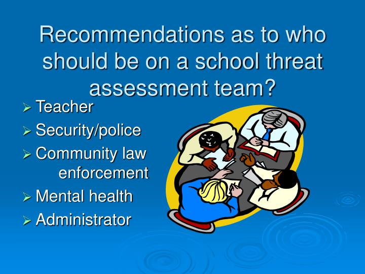Recommendations as to who should be on a school threat assessment team?