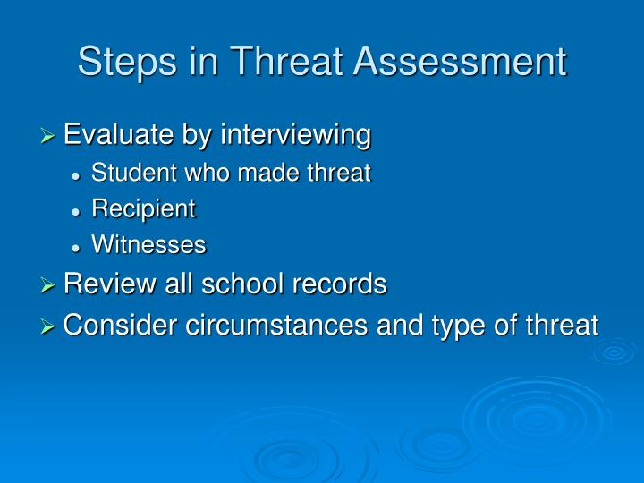 Steps in Threat Assessment