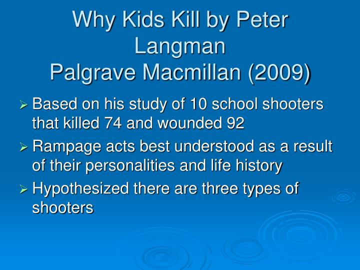 Why Kids Kill by Peter Langman