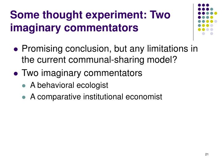 Some thought experiment: Two imaginary commentators