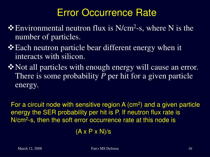 Error Occurrence Rate