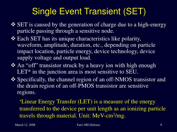 Single Event Transient (SET)