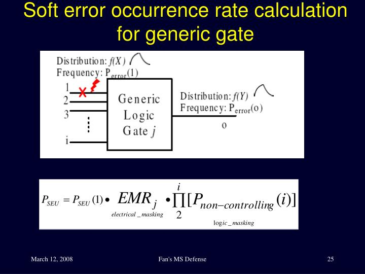 Soft error occurrence rate calculation for generic gate