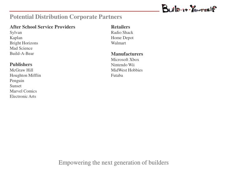 Potential Distribution Corporate Partners
