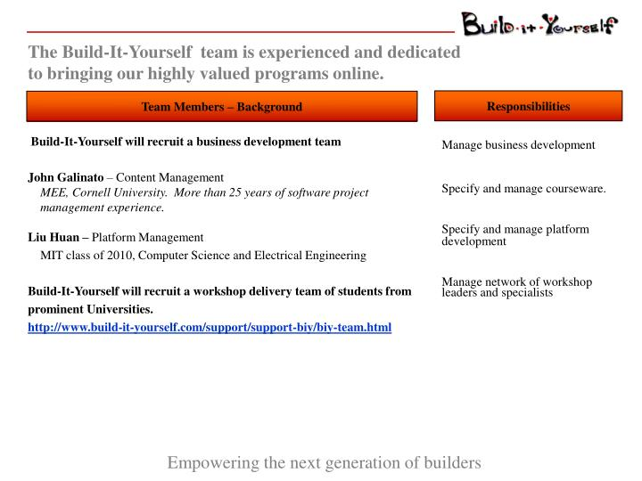 The Build-It-Yourself  team is experienced and dedicated