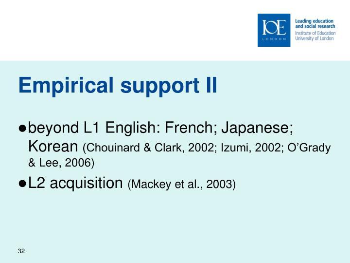 Empirical support II