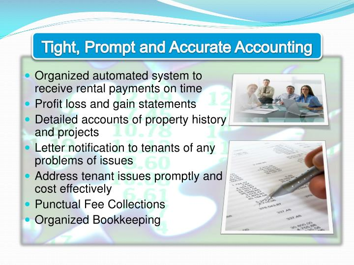 Tight, Prompt and Accurate Accounting