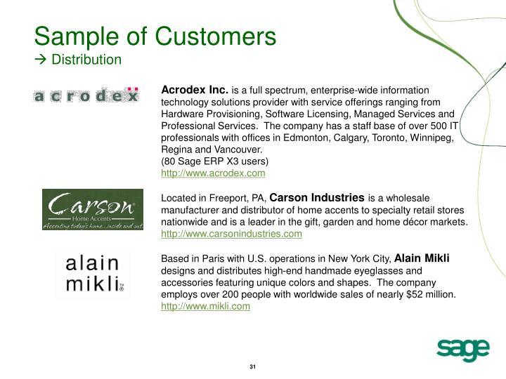Sample of Customers