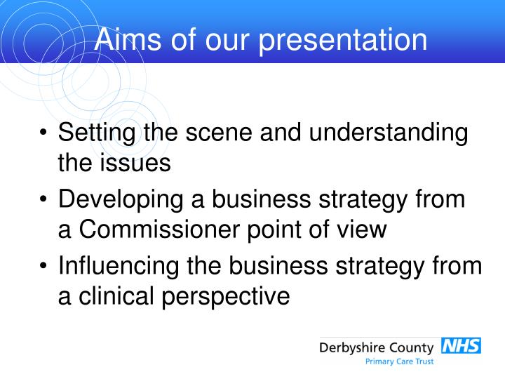 Aims of our presentation