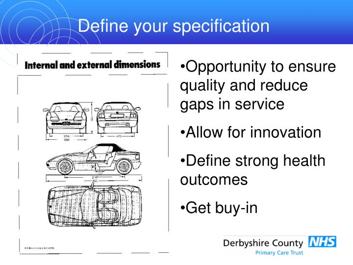 Define your specification