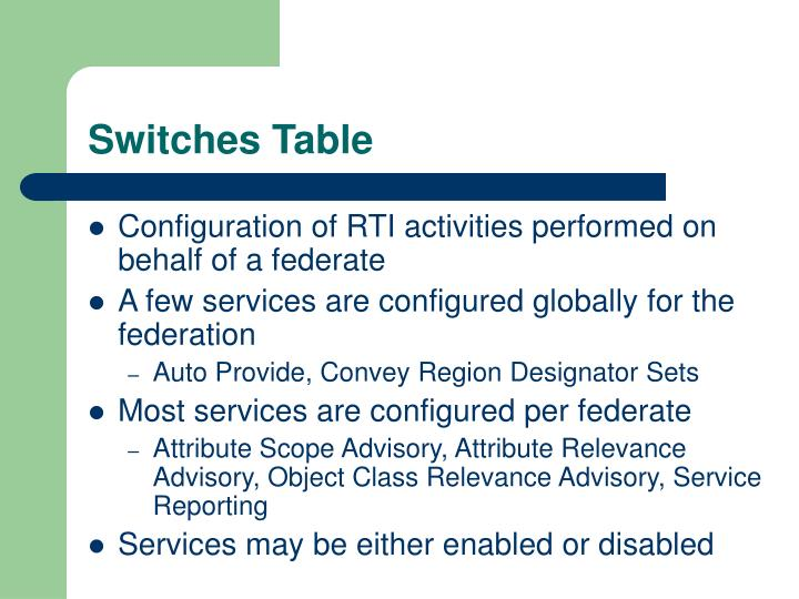 Switches Table