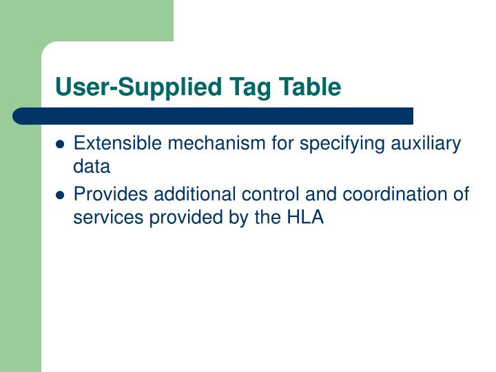 User-Supplied Tag Table