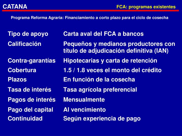 FCA: programas existentes