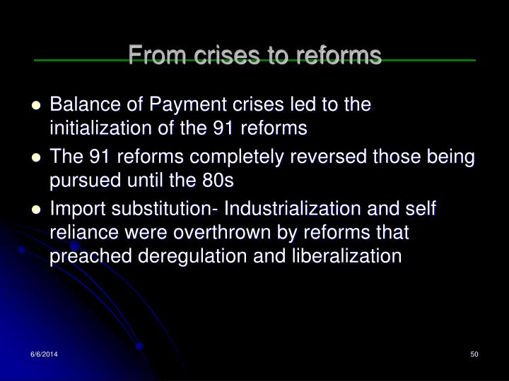 From crises to reforms