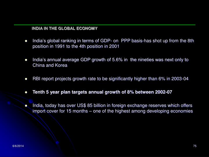INDIA IN THE GLOBAL ECONOMY