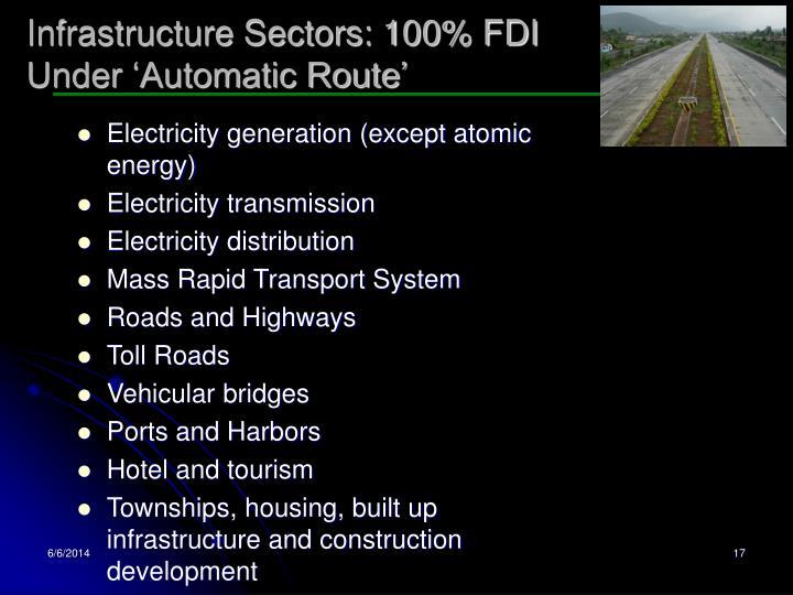 Infrastructure Sectors: 100% FDI