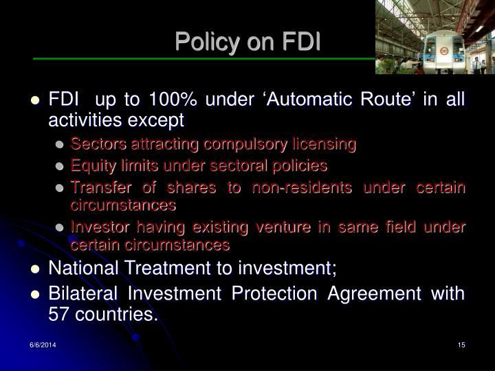 Policy on FDI