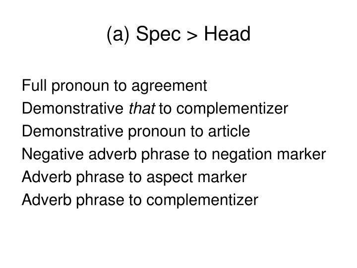 (a) Spec > Head