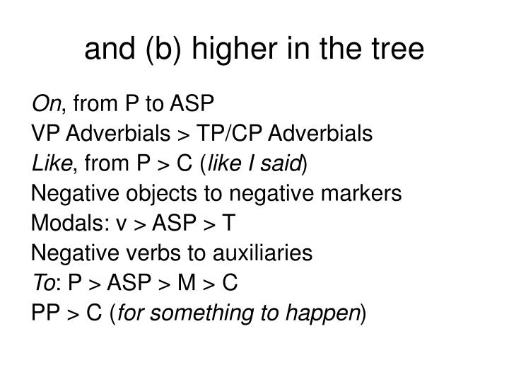 and (b) higher in the tree