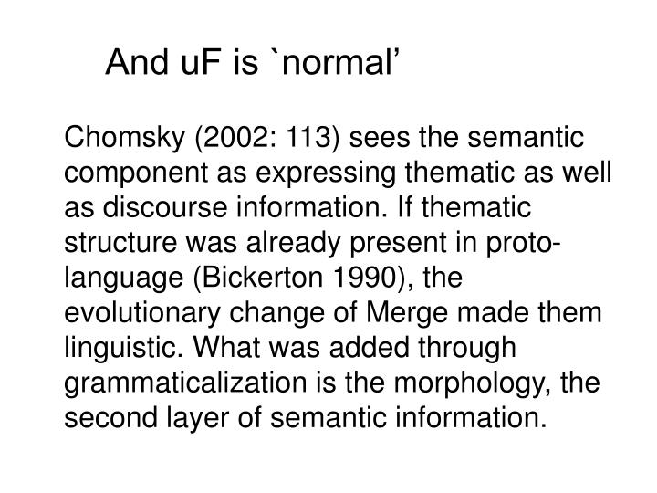 And uF is `normal'