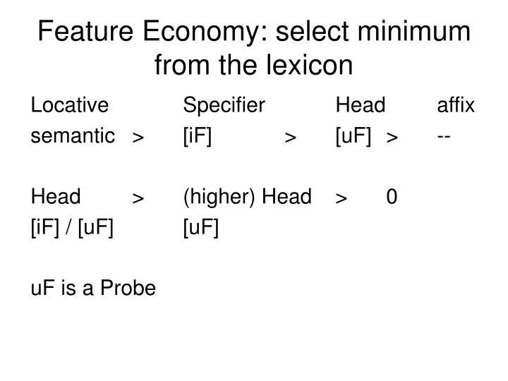 Feature Economy: select minimum from the lexicon