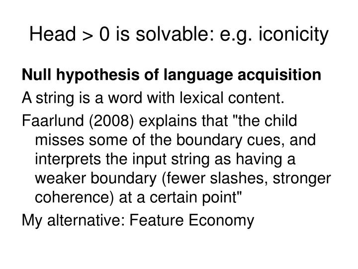 Head > 0 is solvable: e.g. iconicity