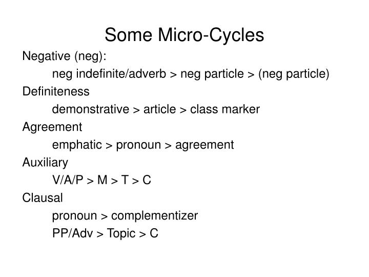 Some Micro-Cycles
