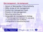 risk management the background