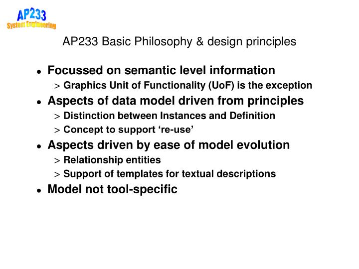 AP233 Basic Philosophy & design principles