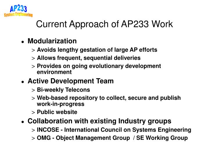 Current Approach of AP233 Work