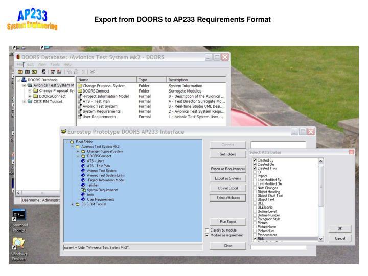 Export from DOORS to AP233 Requirements Format