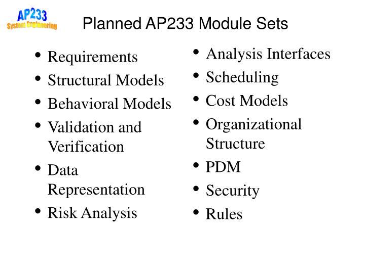 Analysis Interfaces