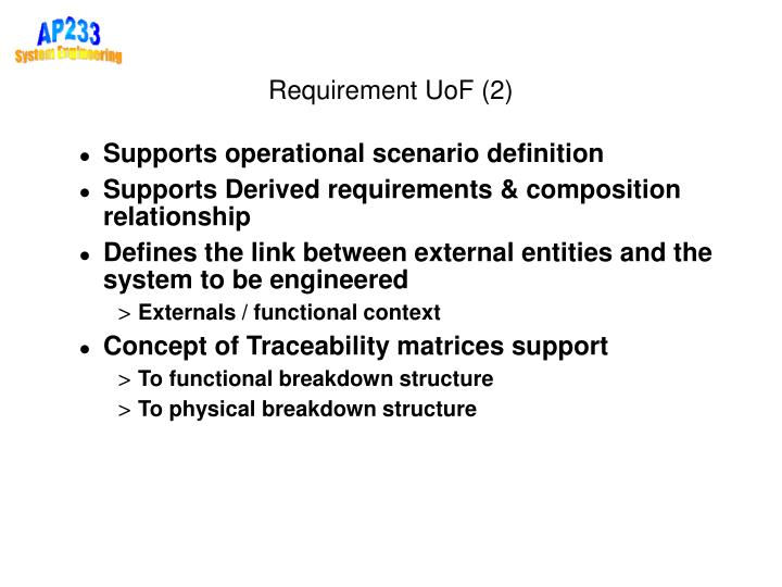 Requirement UoF (2)