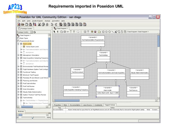 Requirements imported in Poseidon UML