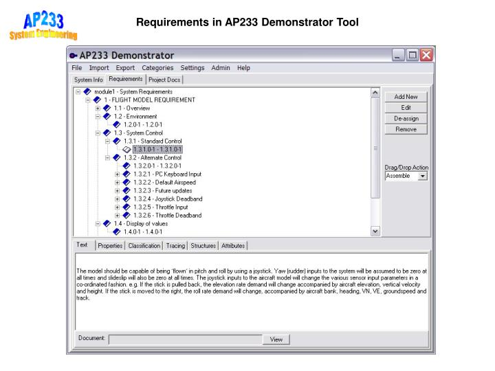 Requirements in AP233 Demonstrator Tool
