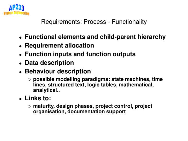 Requirements: Process - Functionality