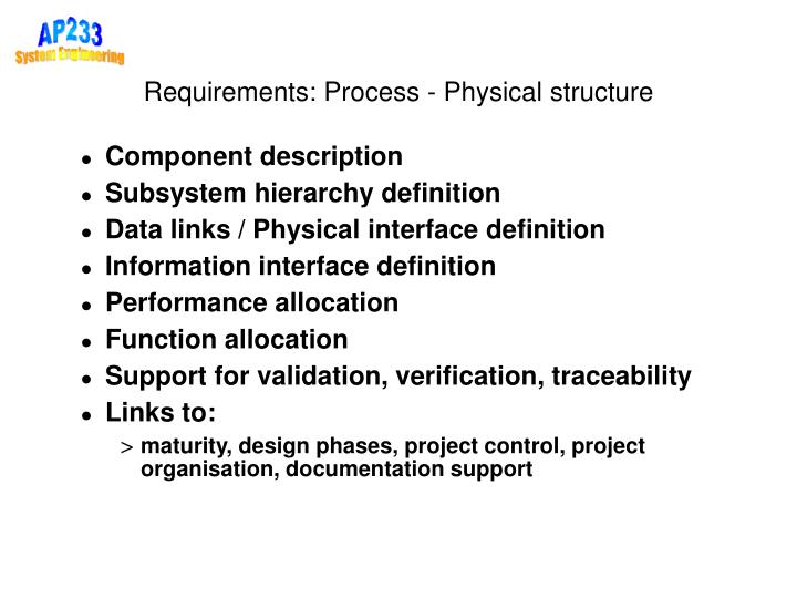 Requirements: Process - Physical structure