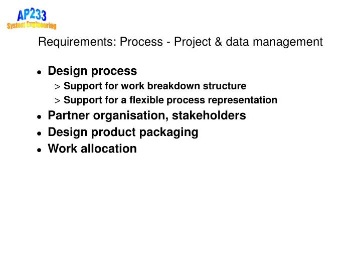 Requirements: Process - Project & data management