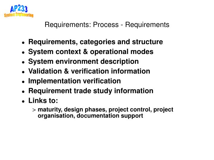 Requirements: Process - Requirements