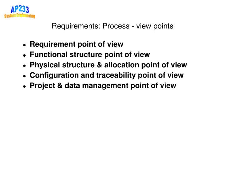 Requirements: Process - view points