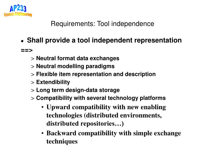 Requirements: Tool independence