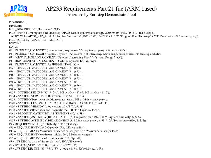 AP233 Requirements Part 21 file (ARM based)