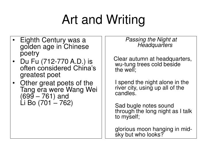 Eighth Century was a golden age in Chinese poetry